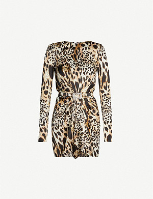 ALEXANDRE VAUTHIER Leopard-print ruched silk-blend mini dress