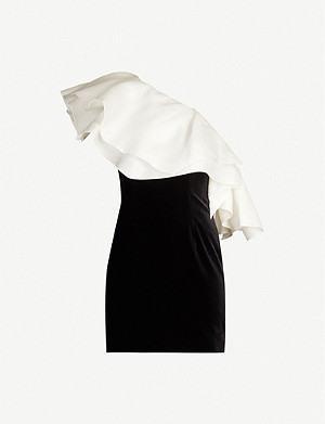 ALEXANDRE VAUTHIER One-shoulder ruffled satin and velvet mini dress