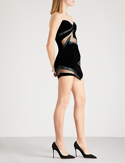 ALEXANDRE VAUTHIER Sweetheart mesh-panel velvet mini dress