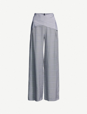 DION LEE Criss-cross waist checked woven trousers
