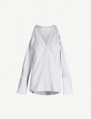DION LEE Cold-shoulder striped cotton shirt