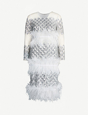 HUISHAN ZHANG Emilia sequin and feather-embellished tulle dress