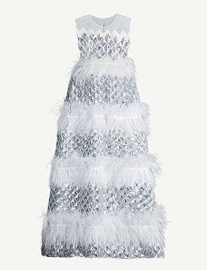 HUISHAN ZHANG Anaïs feather-trimmed sequinned tulle gown