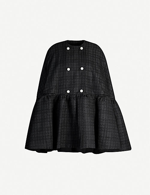 HUISHAN ZHANG Lotte checked woven cape