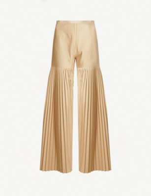HUISHAN ZHANG Mariela flared pleated gabardine trousers