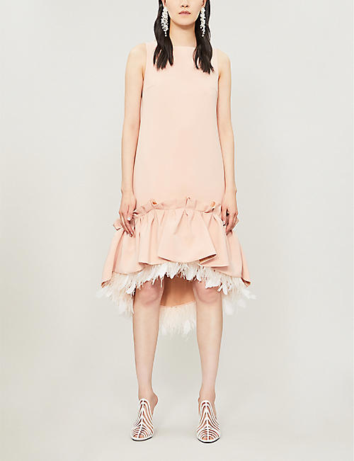 HUISHAN ZHANG Jodie feather-trim crepe dress