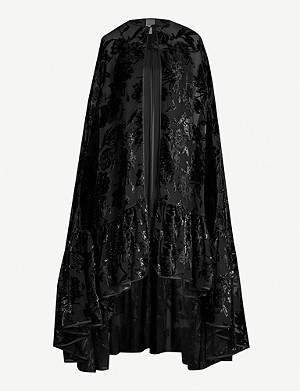 HUISHAN ZHANG Metallic floral jacquard woven and velvet cape dress