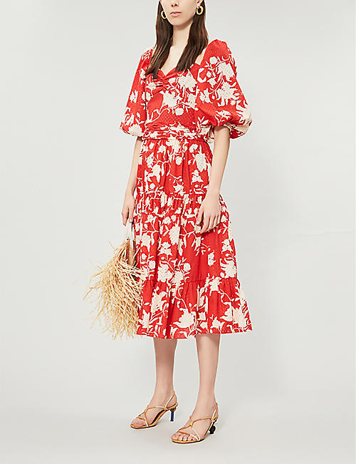 JOHANNA ORTIZ Beautiful Chaos floral-print cotton midi dress