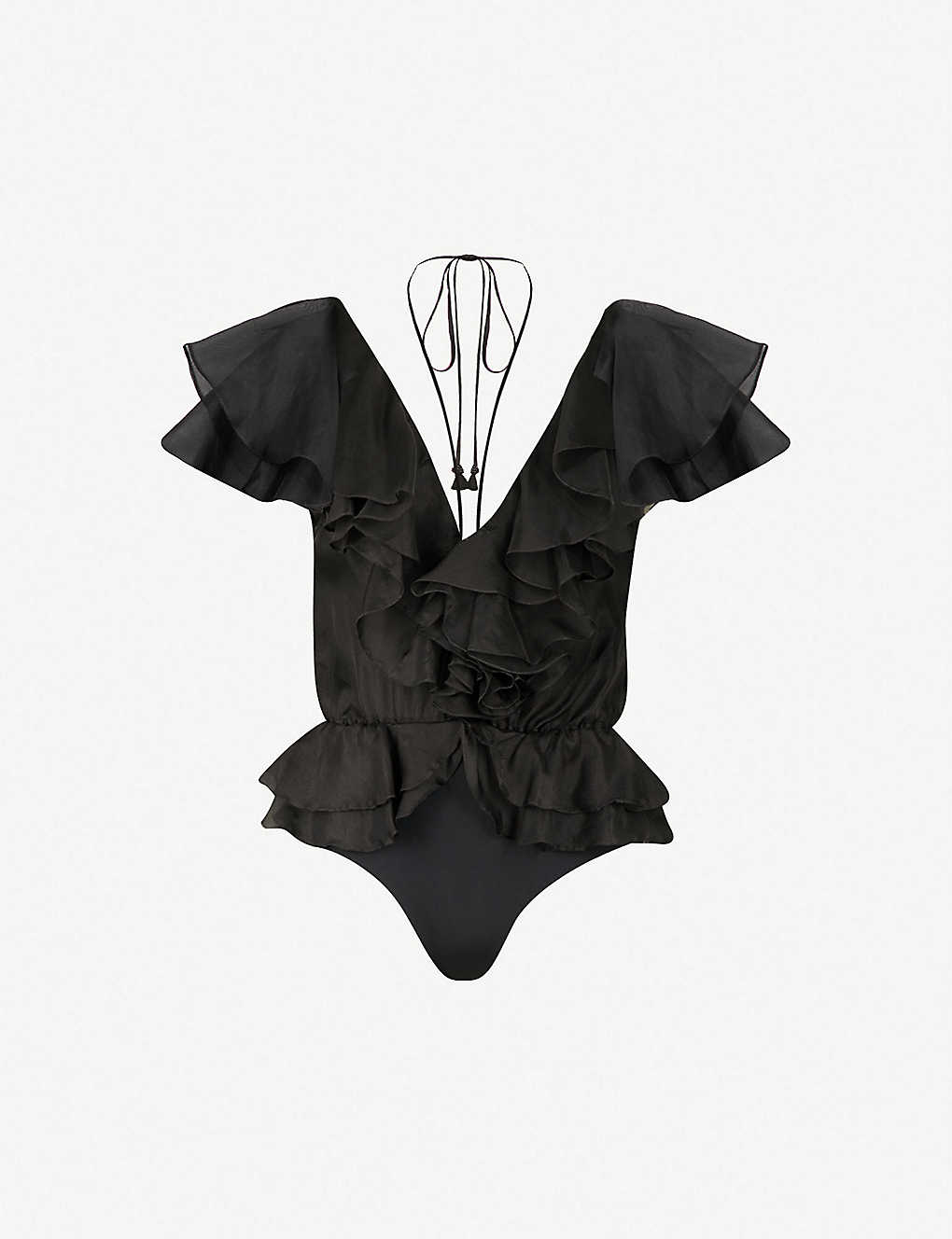 c109307f92491 JOHANNA ORTIZ - Zambezi ruffled silk-blend body | Selfridges.com