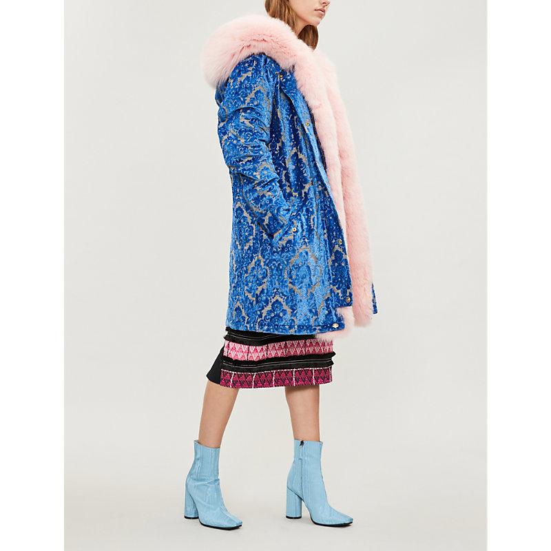 MOOSE KNUCKLES X Mary Katrantzou Tennyson Faux Fur-Trimmed Velvet Parka Coat in Blue