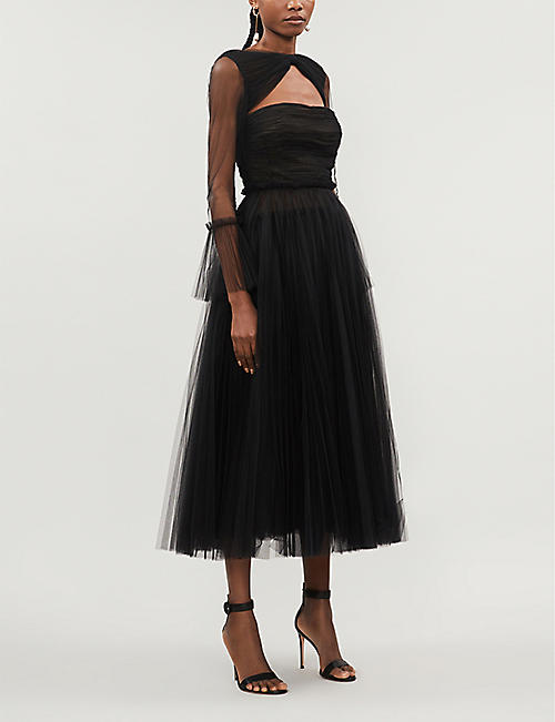 KHAITE Jean cut-out tulle midi dress