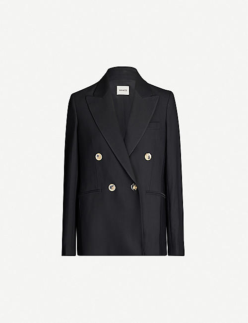 KHAITE Double-breasted stretch-twill blazer