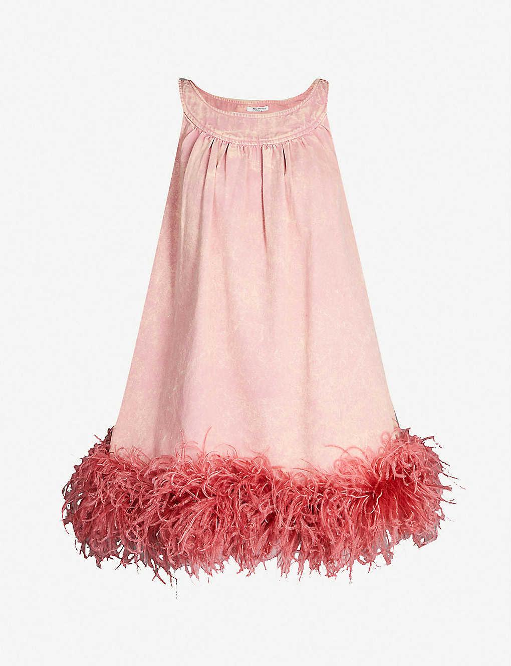 new product 2539c 0681b Feather-trim denim dress