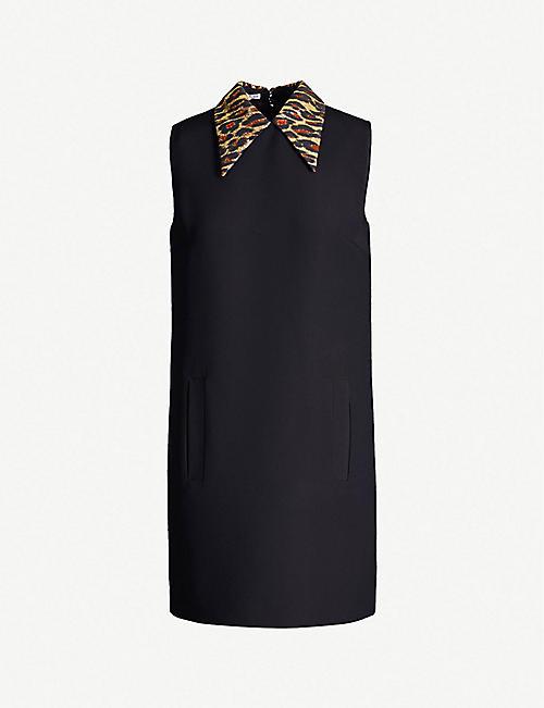 244e2fc8316 MIU MIU Leopard-print collar cady mini dress