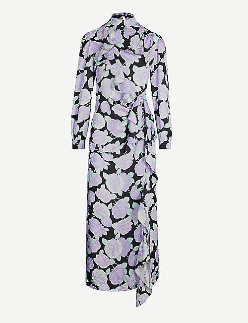 MIU MIU High-neck gathered floral-print silk midi dress