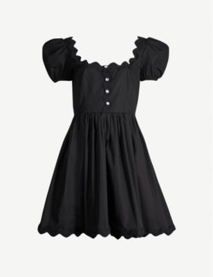 Scalloped-trim crepe mini dress - Nero