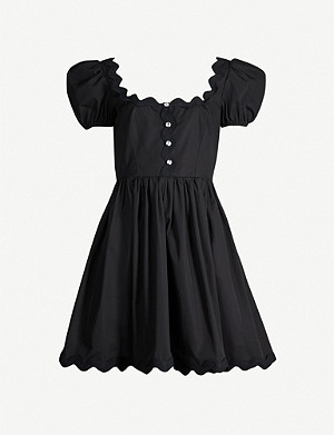 MIU MIU Scalloped-trim crepe mini dress
