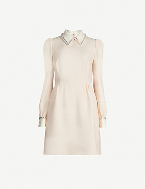 MIU MIU Crystal-embellished crepe mini dress