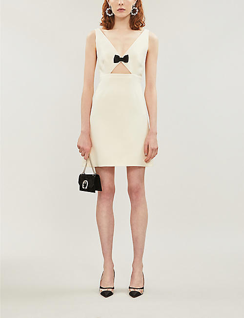MIU MIU Bow-embellished cutout wool and silk-blend mini dress