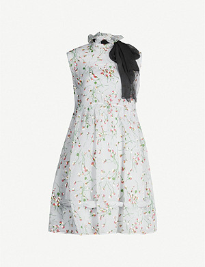 MIU MIU Floral-print frilled-trim crepe mini dress