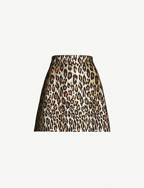 MIU MIU Leopard-pattern metallic-jacquard mini skirt 1d8c0955fbbfa