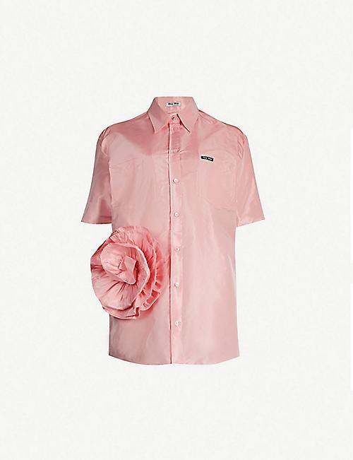43359de14dd MIU MIU Floral-embellished silk-taffeta shirt