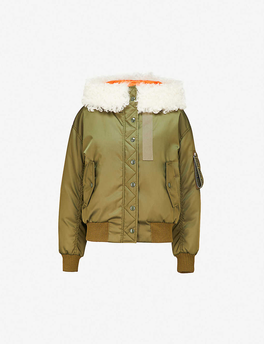 596053fd2c85 Previous. Shearling-trimmed shell bomber jacket ...
