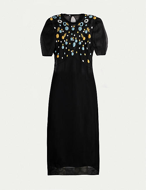 MIU MIU Puff-sleeve floral-embroidered mesh midi dress