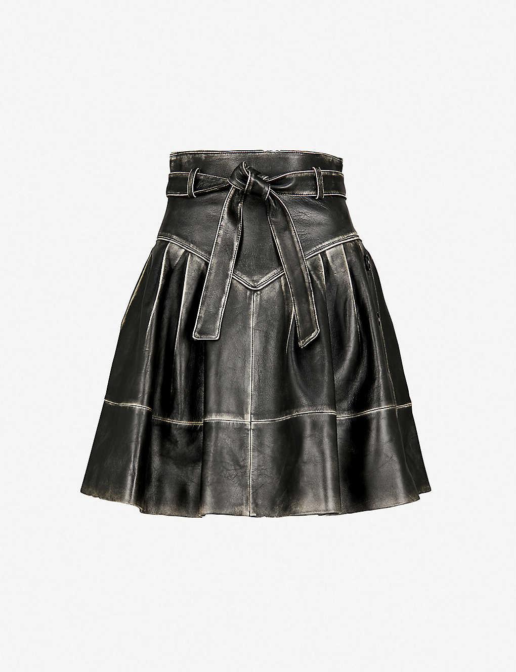 43f67ba29d16 MIU MIU - Bi-colour belted leather skirt   Selfridges.com