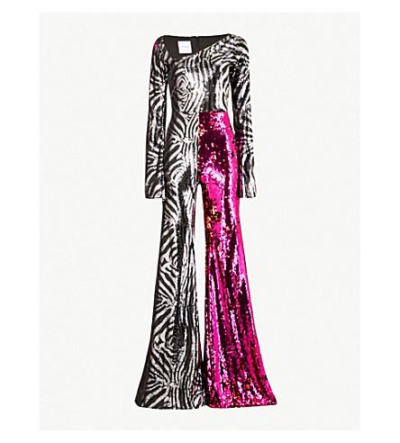 HALPERN Flared sequinned jumpsuit (Black+silver+fuchsia+red
