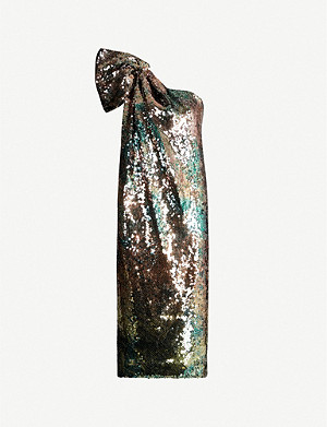 HALPERN One-shoulder sequinned midi dress