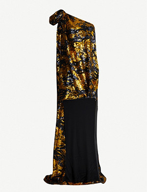 HALPERN One-sleeved sequinned midi dress