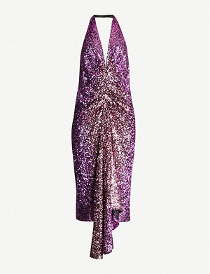 HALPERN Halterneck sequinned midi dress