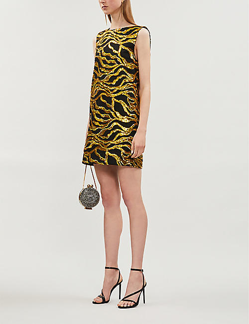 HALPERN Sequin-embllished woven shift dress