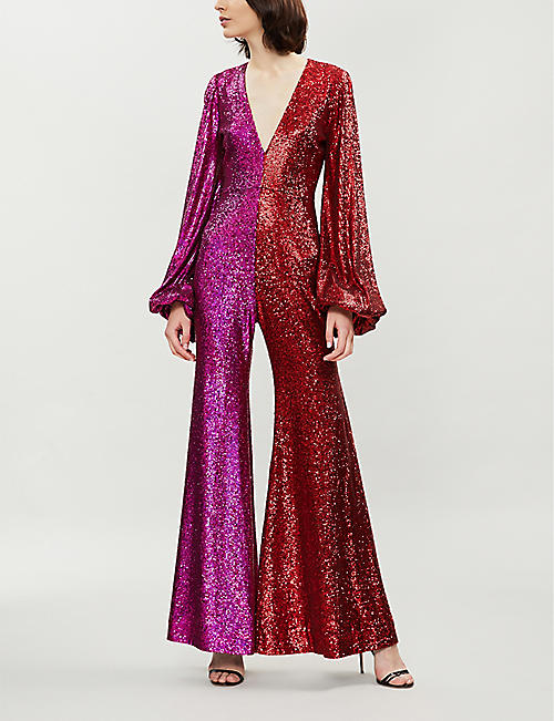 HALPERN Two-tone sequinned jumpsuit