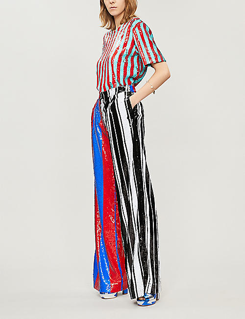 HALPERN Striped high-rise wide sequinned trousers