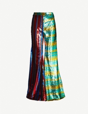 HALPERN Striped high-rise flared sequinned trousers