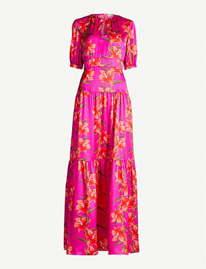 BORGO DE NOR Alba floral-print silk maxi dress