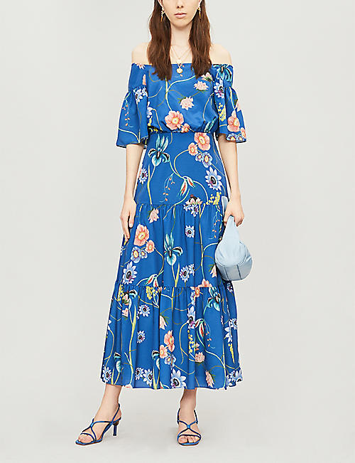 BORGO DE NOR Emelia floral print off-the-shoulder crepe dress