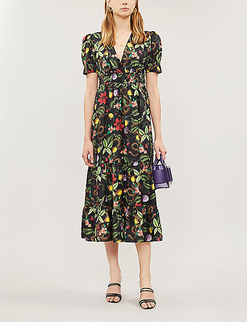 BORGO DE NOR Lucia floral ruched-waist silk dress