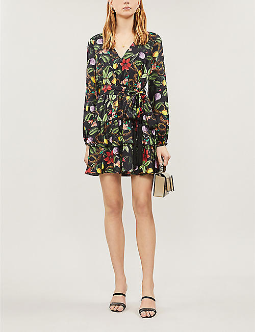 BORGO DE NOR Olivia floral waist-tie silk dress
