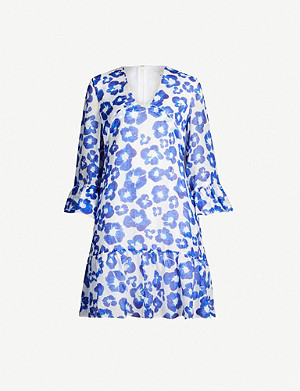 BORGO DE NOR Floral-print V-neck cotton mini dress
