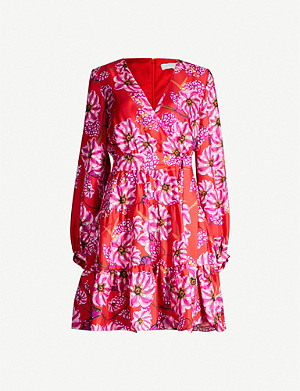 BORGO DE NOR Sol floral-print silk-satin mini dress