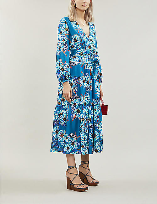 BORGO DE NOR Sol floral-print silk-satin midi dress