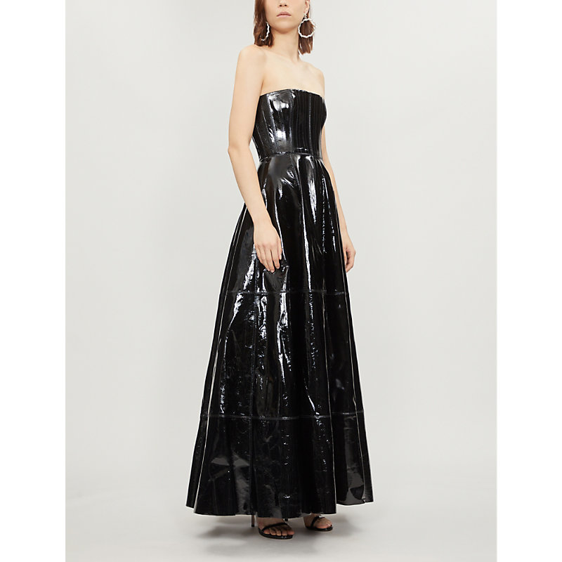 Tate Strapless Patent-Leather Gown, Black