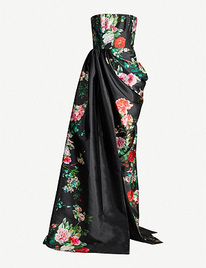 ALEX PERRY Floral-print strapless satin gown