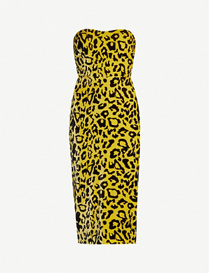 ALEX PERRY Nolan leopard-print strapless velvet mini dress