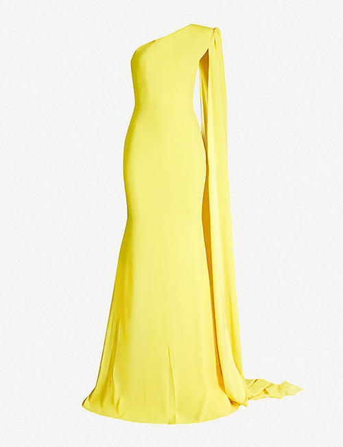 ALEX PERRY Rhett cape-sleeve crepe gown