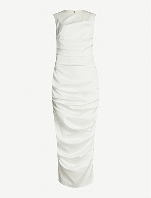 ALEX PERRY Damon ruched satin dress