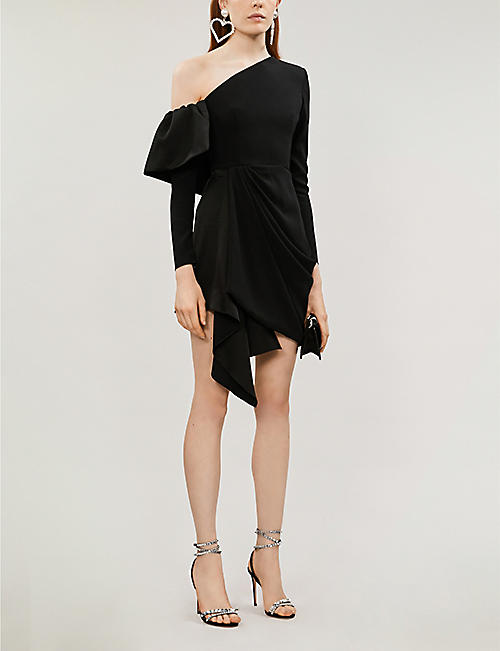 ALEX PERRY Quinn one-shoulder crepe charmeuse mini dress